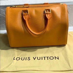 Used orange Louis Vuitton Epi Speedy 30